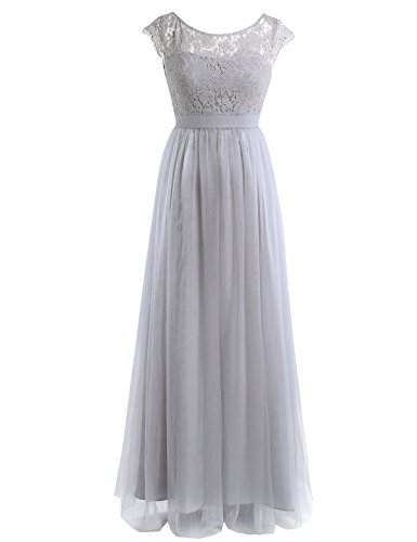 YiZYiF Cap Sleeve Lace Floral Tulle Backless Bridesmaid Evening Dress Gray 14