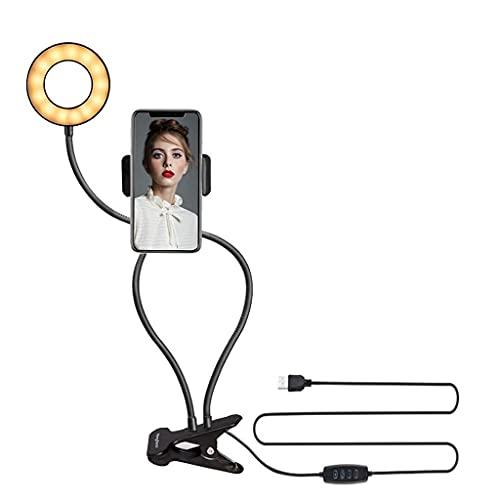 Clip en luz de lectura ligera, lámpara de escritorio usb con 3 modos de color 10 brillo 360 ° Lámpara de abrazadera flexible de cuello de cisne