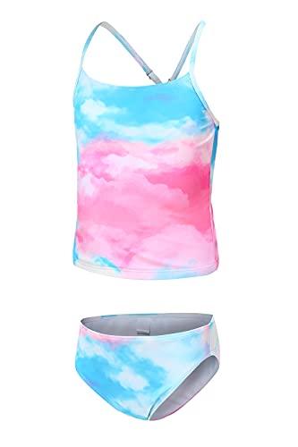 Traje de baño tankini para niña, para verano, playa, bañador de dos piezas, para 3-16 años, azul rosa, 11-12 Años