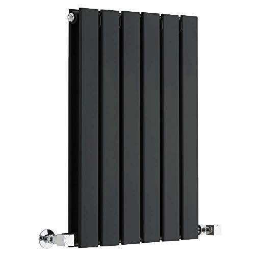 Hudson Reed Radiador de Diseño Moderno Horizontal Delta - Radiador con Acabado Negro - Paneles Planos - 635 x 420mm - 573W - Calefacción