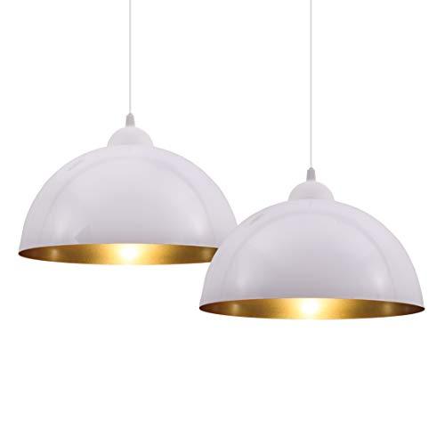 B.K.Licht Set de lamparas de techo colgantes para interiores, requieren bombilla E27 LED, max. 60 W, 230 V, indice de proteccion IP20, color blanco y dorado