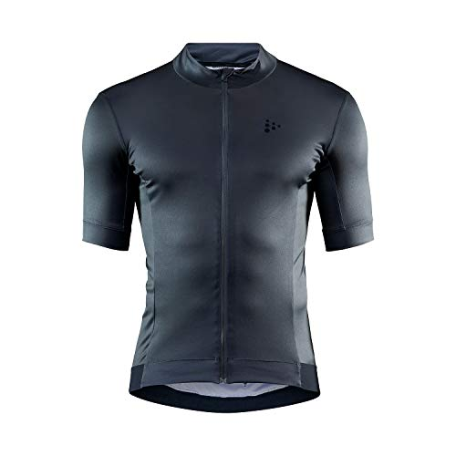 Craft Essence Full Zip Short Sleeve UPF 25+ Cycling Bike Jersey Camiseta, Hombre, Negro, Small