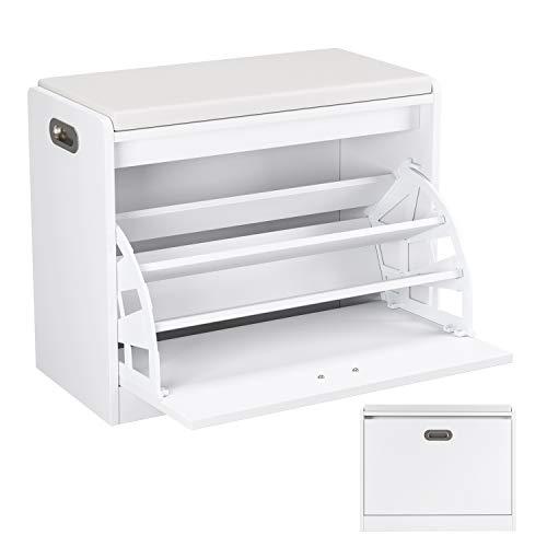 *Homfa Schuhbank Schuhschrank Schuhregal Sitzbank Schuhtruhe Sitzkommode mit Sitzkissen Sitzfläche Stauraum Holz weiß 60×29.5×50.5cm*