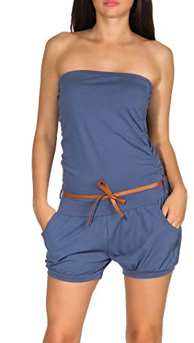 Malito Damen Einteiler kurz in Unifarben | Overall mit Gürtel | schicker Jumpsuit | Romper - Playsuit - Hosenanzug 8964 (Jeansblau)
