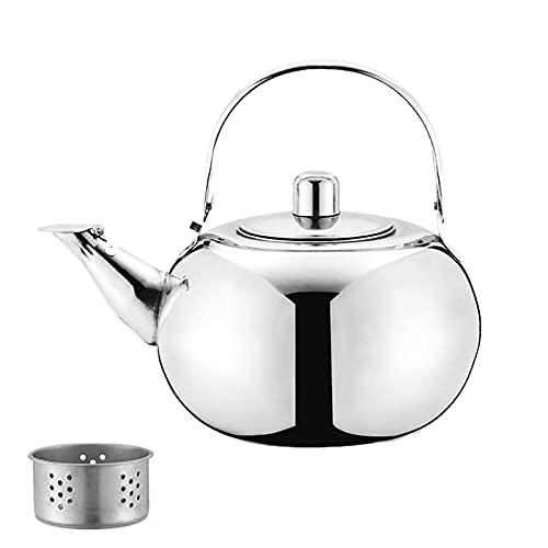 Teekessel Edelstahl Camping Wasserkessel mit Tee-Sieb Flötenkessel zum Wasserkochen Teekessel für Alle Kochplatten Wasserkocher für Tee Kaffee für Zuhause Küche Gas Herd Gasherd 1L Silber 1 Stück