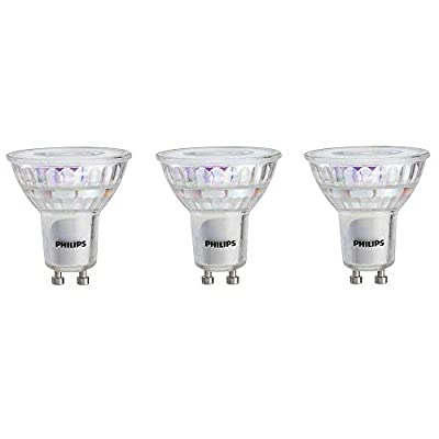 Philips 544932 LED GU10 Dimmable 35-Degree Flood Light Bulb: 380-Lumen, 3000-Kelvin, 4-Watt (50-Watt Equivalent), 3-Pack