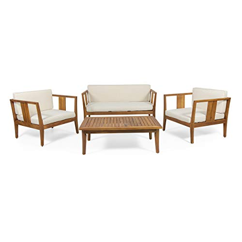 Christopher Knight Home Beatrice Outdoor 4 Seater Acacia Wood Chat Set, Teak and Beige