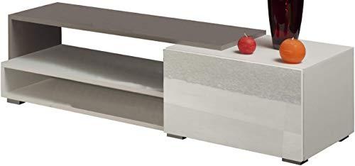 3254A0119L02 TV-LOGO-1 televisiekast, 120 cm, met witte lade, gevel in taupe en wit glanzende planken