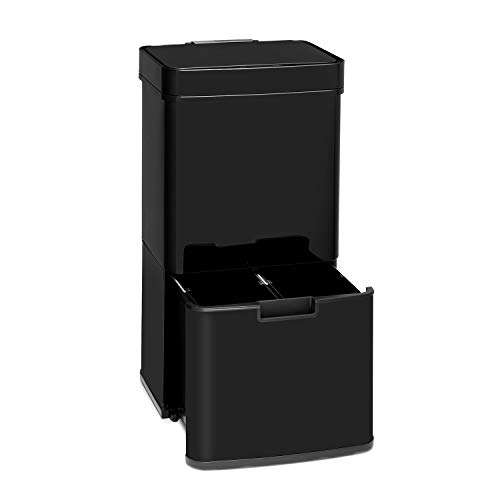 Klarstein Touchless - Black Stainless Steel Mülleimer Sensor-Mülleimer, 72 Liter Volumen in 4 Behältern: 43 & 2 x 12,5 Liter, Bio-Eimer mit Deckel: 4 Liter, automatisches Öffnen und Schließen, schwarz