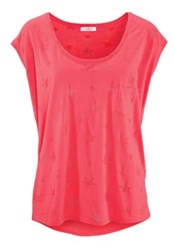 ELFIN Damen T-Shirt Kurzarmshirt Basic Tops Ärmelloses Tee Allover-Sternen Ausbrenner Shirt Sommer Shirt Large Korallenrot