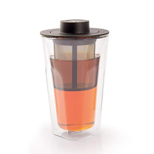 finum Smart Brew-systeem dubbelwandig glas met filter en deksel/afdruipbak, 320 ml