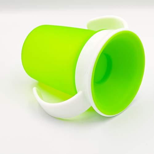 Bellmii® Vaso antiderrames con Tapa - 360º - Sujeción por asas - Entrenamiento para bebes - Taza de Alimentación - Fácil de limpiar - A partir de 6 meses - Resistente - 220ml - (Verde)