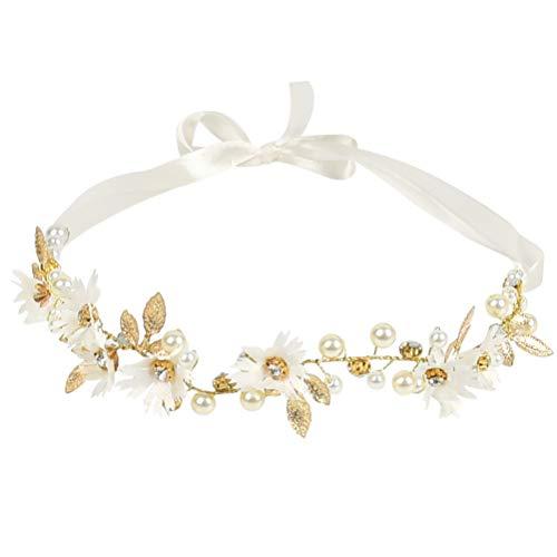 TIMESETL Diadema de flores cadena de cabeza de flor con perlas, 30 cm diademas de flores de diamantes de imitación de perlas para accesorios para el cabello de boda nupcial