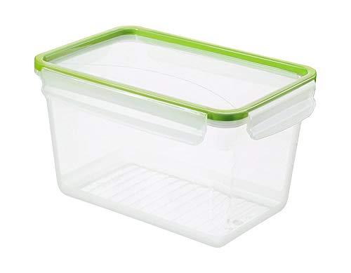 Rotho Clic & Lock Frischhaltedose 3l mit Deckel und Dichtung, Kunststoff (PP) BPA-frei, transparent/grün, 3l (23,9 x 16,0 x 13,6 cm)