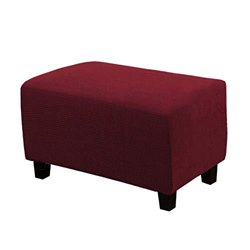 Fodera ottomana elasticizzata, morbida elasticizzata, rettangolare per divano, lavabile e senza pieghe, tessuto jacquard spesso a quadretti con fondo elastico (rosso, L)