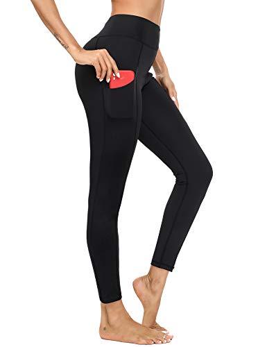 Irevial Leggings Donna Yoga Fitness in Elastico, Leggins Sportivi Donna Vita Alta con Tasche, Palestra Pantaloni Sportivi Donna per Allenamento, Corsa