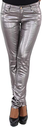 Damen Kunstlederhose Röhrenhose Bikerhose Damenhose Leder Look Hose Röhre Bronze Silber, Silber, XS / 34