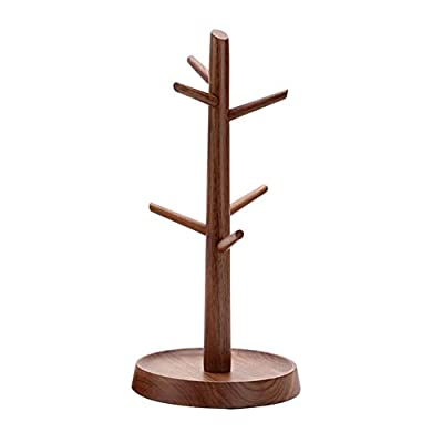 AXELEL Walnut Wood Mug Rack Tree, Organic Wood Mug Holder, Mug Hook,Mug Stand,Coffee Cup Dryer with 6 Hooks from AXELEL