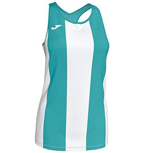Joma Camiseta Aurora Turq-Blan Tirantes Mesh Mujer, Turquesa-Blanco, L
