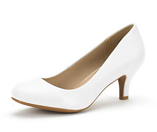 DREAM PAIRS Women's Luvly White Pu Bridal Wedding Low Heel Pump Shoes - 5 M US
