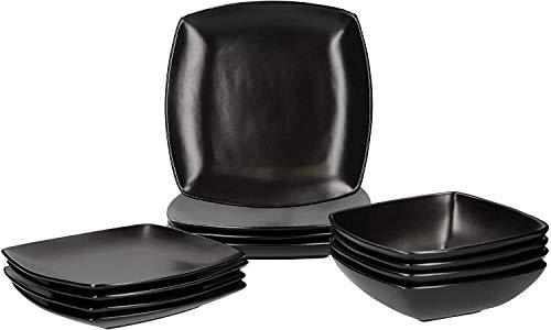 CREATIVE TOPS Raven - Set de Vajilla Cuadrada de 12 piezas para 4 personas, Cerámica, Negro