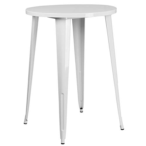 "Flash Furniture Commercial Grade 30"" Round White Metal Indoor-Outdoor Bar Height Table"