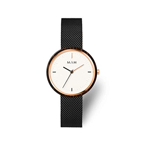 Reloj MAM mujer madera con malla milanesa acero negro.665