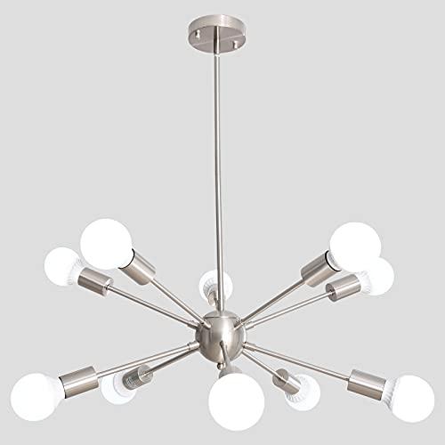 Modern Sputnik Chandeliers ALISADABOY Mid Century Ceiling Lighting Fixture Industrial 10-Light Vintage Pendant Light for Dining Living Room Bedroom Kitchen Island Bedroom Hallway Foyer, Brushed Nickel