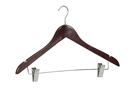 Home Basics Sunbeam 72 Pack of Wood Hanger with Clips for Pants, Shirts, Dresses, Skirts, Tops and More (Cherry)