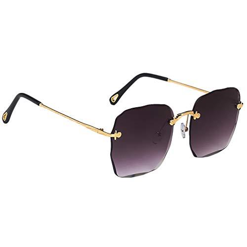 Óculos de sol KESYOO sem aro retangular feminino fashion quadrado óculos de sol grandes (cinza)