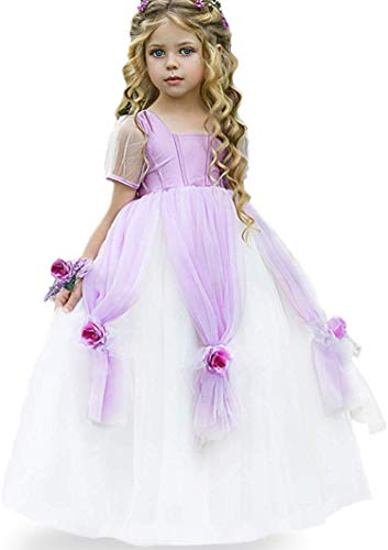 Rapunzel Sofia Costumes Dress Girls Princess Sophia Birthday Party Halloween Cosplay Outfit with Wrist Flower