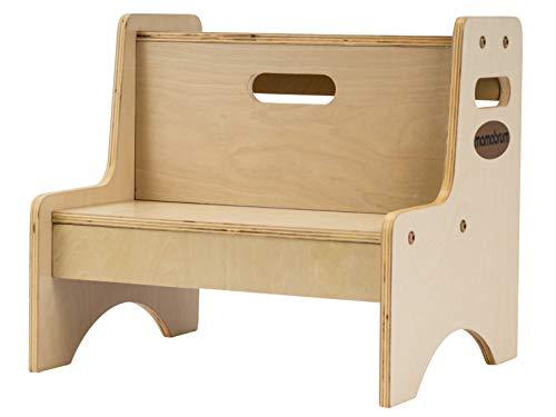 Mamabrum Mini Küchenhelfer, Tritthocker aus Holz, für Kinder, Kinderschemel, Tritt-Schemel, Kindermöbel, Zweistufig, Trittschemel, bis 100 kg, Massivholz
