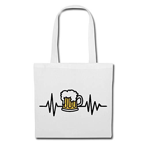 Tasche Umhängetasche Herzschlag Bier - JGA - JUNGGESELLENABSCHIED - Alkohol - GERSTENSAFT Einkaufstasche Schulbeutel Turnbeutel in Weiß