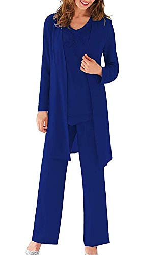 Women's Royal Blue Three Pieces Evening Dress Mother of The Bride Dresses Chiffon Pant Suits for Wedding Groom US14