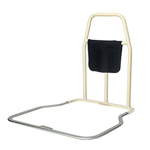 CQILONG Fall Protection for the Elderly bed Guardrail, Aluminum Alloy Frame Universal Auxiliary Handle, Family Medical Treatment Safety Armrest (Color : SilverWhite, Size : 60X58cm)