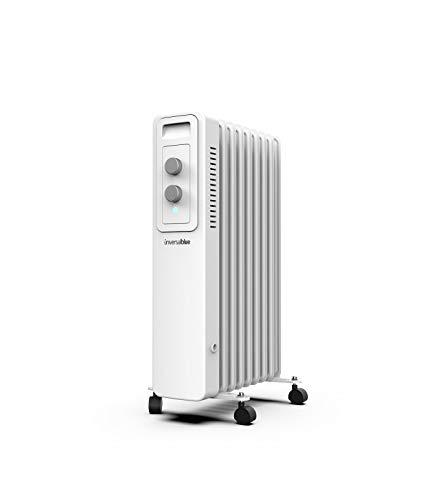 UNIVERSALBLUE | Radiador de Aceite | Calefactor Blanco 1500W | 9 Elementos calefactores | 3 Potencias | Silencioso | Sistema de Seguridad | Termostato Ajustable