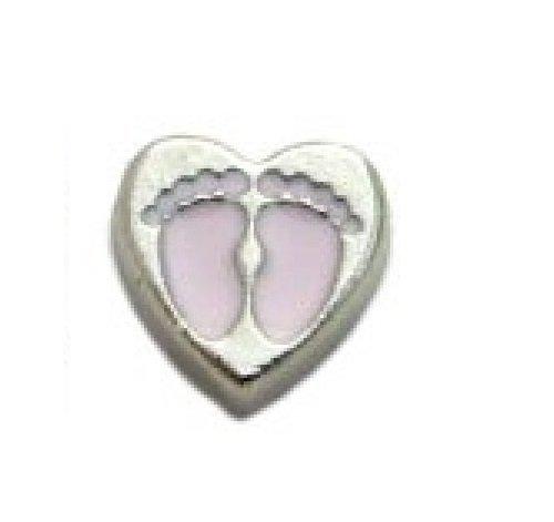 Corazón Bebé Rosa feet- 8mm encanto flotante se ajuste a living Memory Lockets y Origami búho estilo Lockets