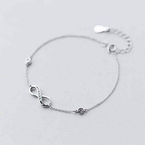 ERH Damen Western Fashion Diamanten Armband 925 Silber Armband Weiblich Natuurlijke Zoete Diamant Infinity Armband Niedlich ∞ Cirkel Hand Ornament