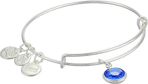 Alex and Ani Women's Swarovski Color Code Bangle September Sapphire Bracelet, Shiny Silver, Expandable