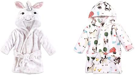 Hudson Baby Girl Plush Animal Face Bathrobe 2-Pack, White Unicorn Farm Animals