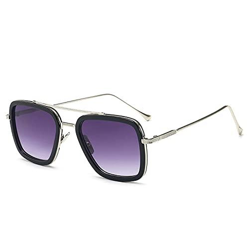 XJW Gafas de sol retro para hombre, cuadradas, para viajes y ciclismo 2021/5/24 (color: púrpura)