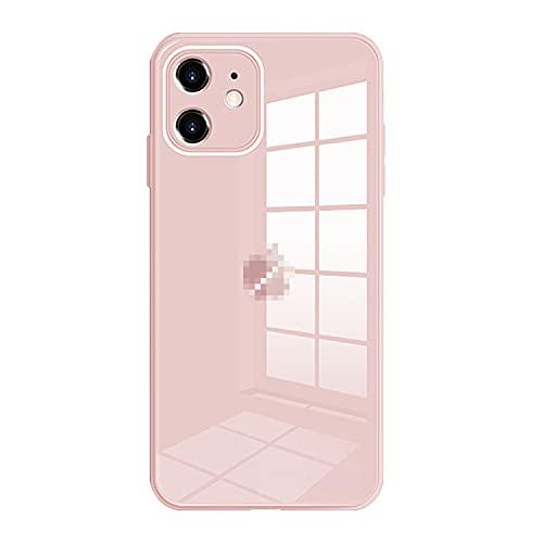スマホケースカバー・Apple iPhone13用 ケース カバー TPU 背面強化ガラスアップル アイフォン13 かわいい シンプル ハードケース おしゃれ アンドロイド スマフォ スマホ スマートフォンケース/カバー[iPhone 13(ピンク)]