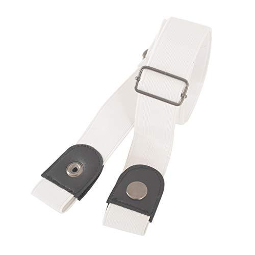 Unisex Gürtel Canvas Belt für Herren und Damen, Plus Size Elastischer Unsichtbare Gürtel ohne Schnalle,stufenlos verstellbarer Stoffgürtel, Kein Bauch, Kein Stress (Weiß)