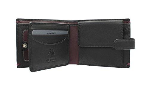 Visconti ALPINE Kollektion LUCERNE Brieftasche Leder, mit Laschenverschluss mit RFID-Schutz AP63 Schwarz/Burgund