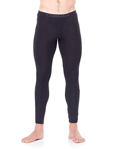 Icebreaker Merino Men's Standard 175 Everyday Cold Weather Leggings-Wool Base Layer Thermal Pants, Black, Medium