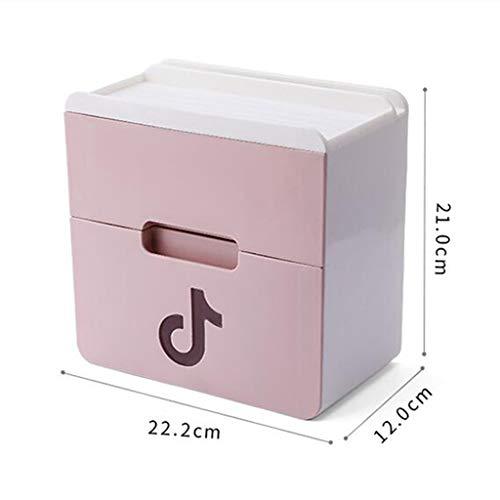 Haute qualité Boîte De Mouchoirs En Papier Hygiénique À Usage Domestique Avec Porte-rouleau Imperméable À L'eau (rose) Accessoires de salle de bain (taille : 22.2 * 12 * 21cm)