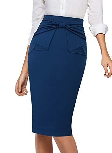VFSHOW Womens Blue Pleated Bow High Waist Slim Work Office Business Party Bodcyon Pencil Skirt 5080 BLU XL