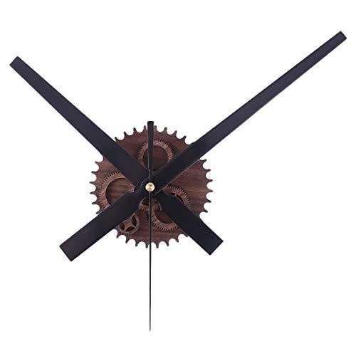 Batop Uhrwerk für Wanduhr Vintage Zahnrad Metall Quarzuhrwerk Lautlos Schleichendes DIY Uhrwerk mit 3 Zeiger-Sets (Mahagoni)