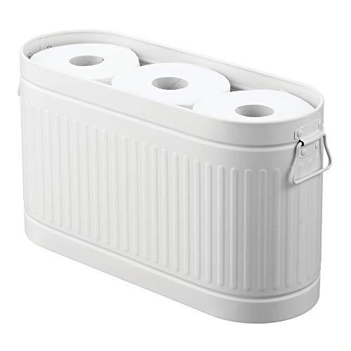 mDesign Portarrollos para papel higiénico con capacidad para 6 rollos de repuesto – Soporte de metal móvil para papel higiénico – Compacto soporte para baño o aseo de invitados – blanco
