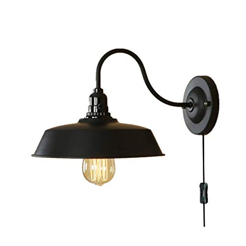 Wall Sconce Lighting Gooseneck Wall Lamp Black Industrial Vintage Farmhouse Wall Light Fixtures Plug in Cord with On Off Switch E26 Base for Bedroom (Plug-in Wall lamp)